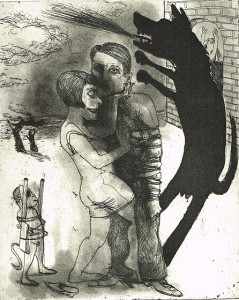 We're all bleeding 4 (B/W) , 2012, 25 x 20 cm, etching/aquatint, edition 15