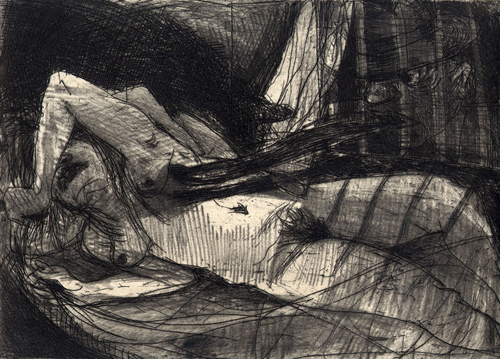 Bed of roses, 2008, etching, 11.5 x 16 cm, edition 15