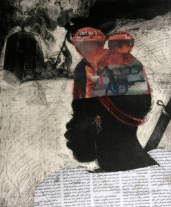 Child Soldier 4, 2015, 30 x 25 cm, etching/aquatint/collage, #2, V.E 30