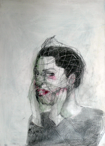 DW24-12_8, 2016, pencil, oil on board, 30 x 41cm