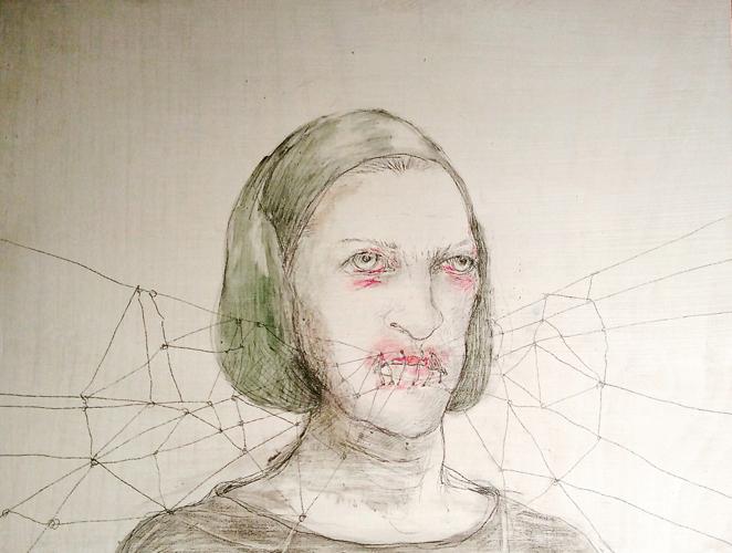 DW26- 7/4, 2016, pencil, oil on board, 30 x 40cm