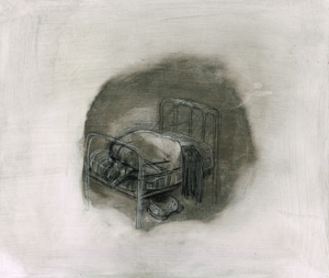 DW31-8/5, 2016, pencil, oil on board, 30 x 35cm