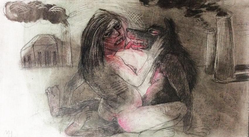 DW37-3/6, 2016, pencil, oil on board, 26 x15 cm