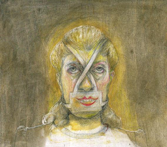 DW42–18/6, 2016, pencil, oil on board, 27 x 30 cm