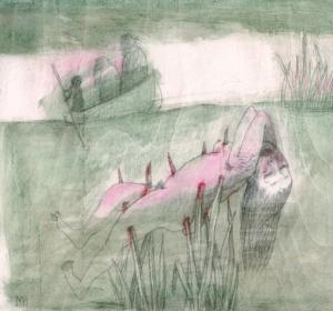 DW46–30/6, 2016, pencil, oil on board, 27 x 30 cm