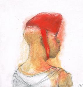 DW51–7/7, 2016, pencil, oil on board, 27 x 30 cm