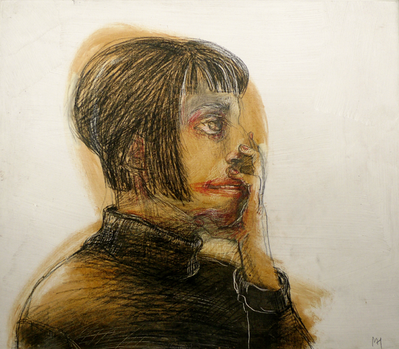 DW52-27/4, 2016, pencil, oil on board, 30 x 35 cm