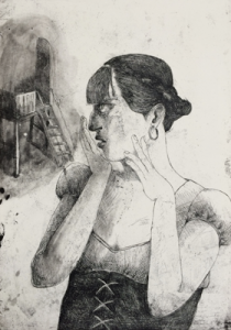 Don't look now 2, 2018, 70 x 49 cm, etching on copper, ed 30