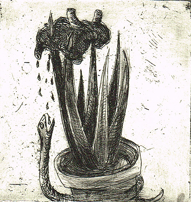 Endless nights 6, 2011, etching, 8 x 8 cm, edition 15