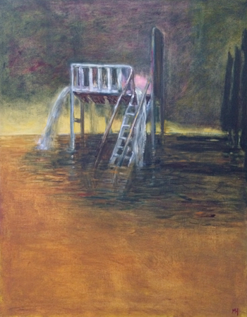 Flood waters (day), 2018, oil on canvas, 71 x 56 cm