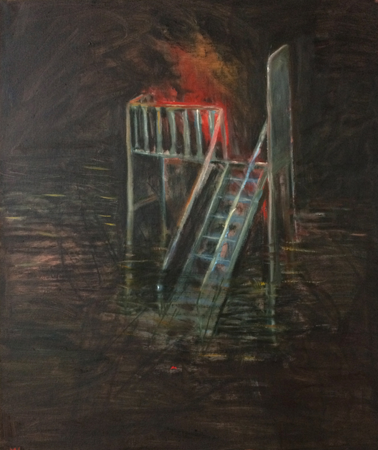 Flood waters (night), 2018, oil on canvas, 66 x 56 cm