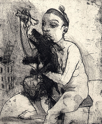 Lap-dog, 2009, etching, 15.5 x 12.5 cm, edition 15