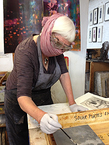 Marcelle Hanselaar Working at spit-bite in Artichoke Print Studio