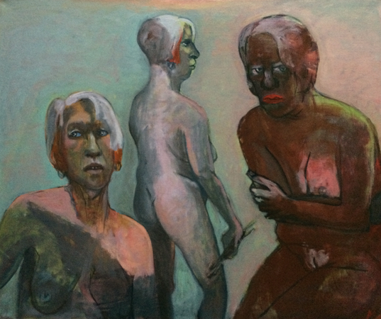 My triple self, 2017, oil on canvas, 77 x 92 cm