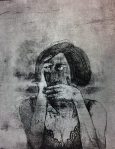 Nowhere to hide, 2018, steel plate etching, 60 x 50 cm