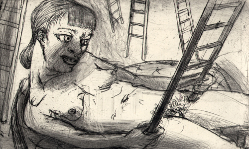 Pinned down, 2009, etching, 9.5 x 15.5 cm, edition 15