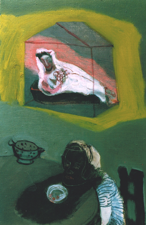 Possible dynamics around a diningtable 7, 2002, oil on canvas, 56 x 36 cm