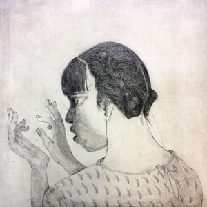 Reading between the lines 2, 2018, 50 x 50 cm, etching, ed 30