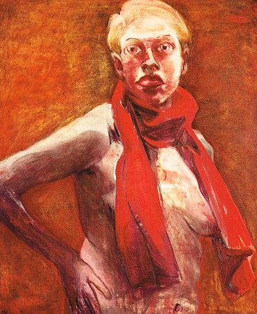 Red scarf 2, 2001, oil on canvas, 90x75 cm