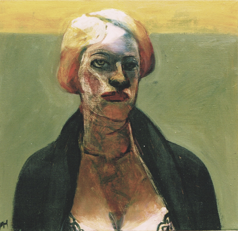 Self portrait with wonderbra, 2004, oil on canvas, 46 x 48 cm