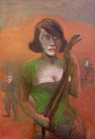 Snake charmer, 2016, oil on canvas, 97 x 66 cm
