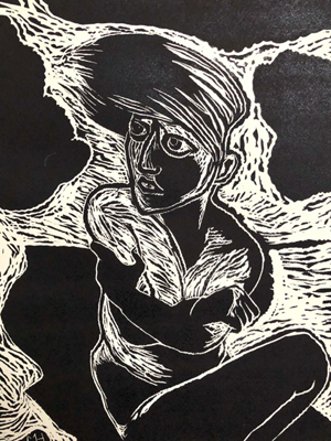 Wind from the west 2, linocut, 2020, 40 x 30 cm, ed. 20