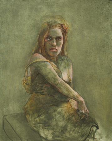 Bar coded woman, 2012, oil on canvas, 102 x 81 cm