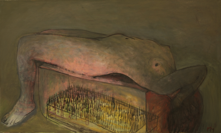 Bed of nails, 2009, oil on canvas, 63 x 103 cm
