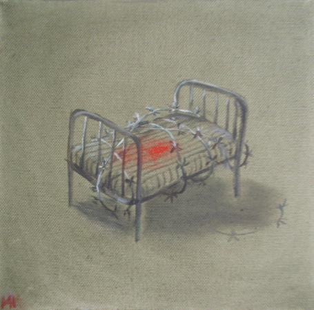 Bed with barbed wire, 2013, oil on canvas, 20 x 20 cm