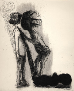 Casting shadows, 2001, etching/aquatint, 25 x 20 cm, edition 25