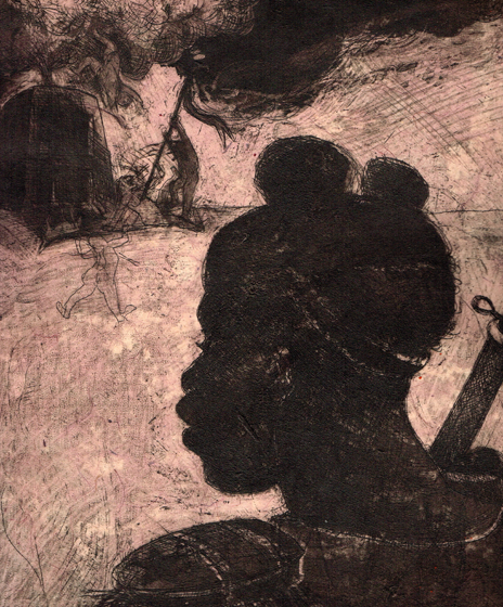 Child Soldier 4, 2014, 30 x 25 cm, etching / chine-collé, edition 30