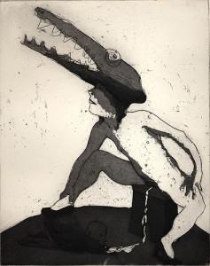 Crocodile tears, 2001, etching/aquatint, 25 x 19 cm, edition 25