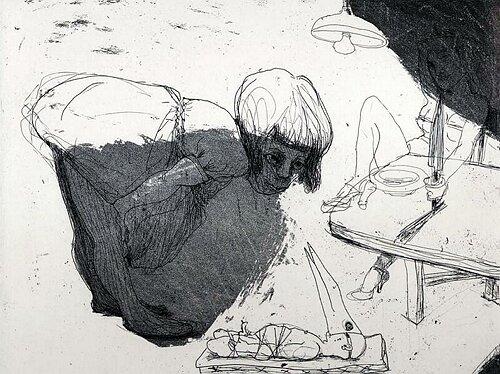 Daddy's girl, 2003, etching/aquatint, 20 x 25 cm, edition 25