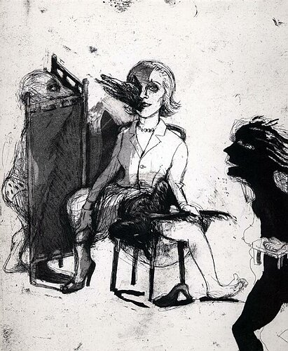 Dissolution of the Doris Day syndrome 1, 2003, etching/aquatint, 30 x 25 cm, edition 30
