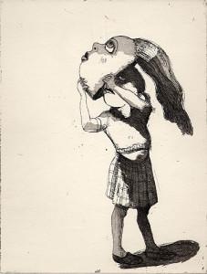 Facing-up, 2001, etching/aquatint, 25 x 19 cm, edition 25