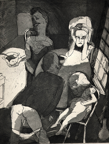 Family at dinner, 2001, etching/aquatint, 29 x 25 cm, edition 25