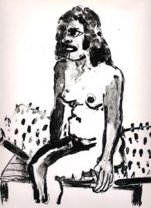Femme a l' aise , 2009, stone litho, 25 x 20 cm, edition 5