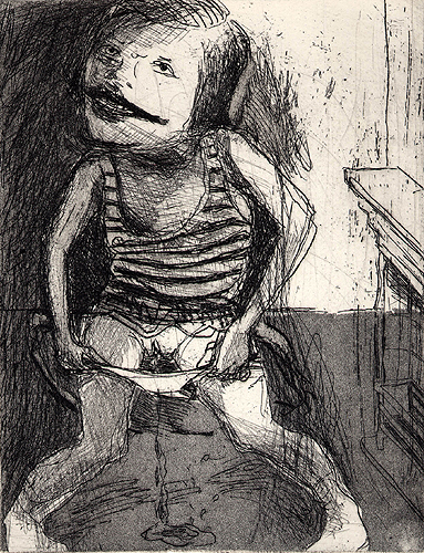 Girl Pissing, 2001, etching/aquatint, 16 x 12 cm, edition 25