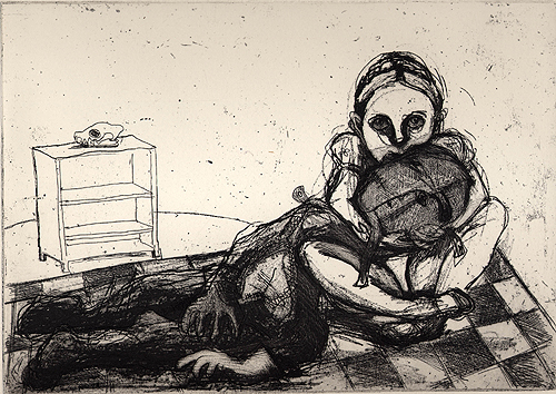 Hold me 2, 2001, etching/aquatint, 18 x 25 cm, edition 25