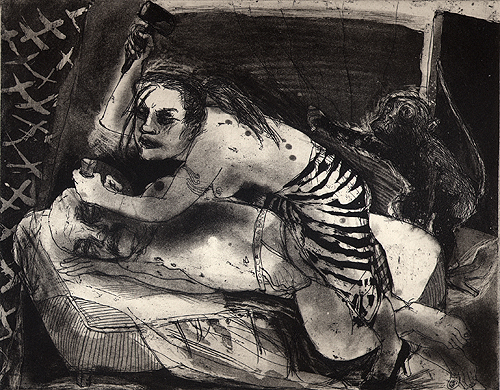 Jael and Sisera 1, 2007, etching/aquatint, 20 x 25 cm, edition 30