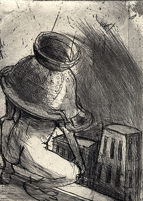 King of colanders 4, 2009, etching, 12.5 x 9 cm, edition 15