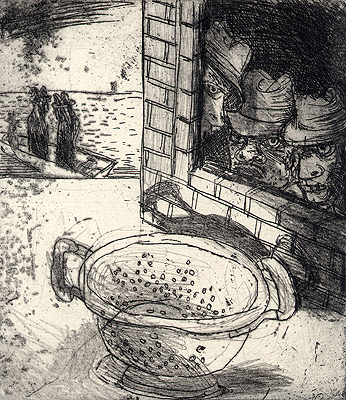 King of colanders 5, 2009, etching, 12 x 11 cm, edition 15