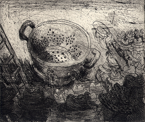 King of colanders 6, 2009, etching, 12 x 14 cm, edition 15