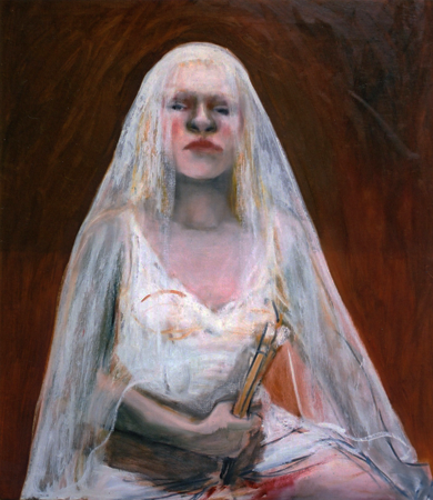 La sentinelle de la memoire 1, 2004, oil on canvas, 80 x 75 cm
