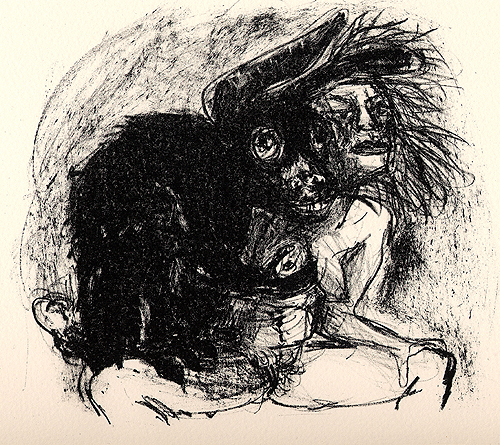 Beasts 2, 2006, stone litho, 22 x 29 cm, edition 10