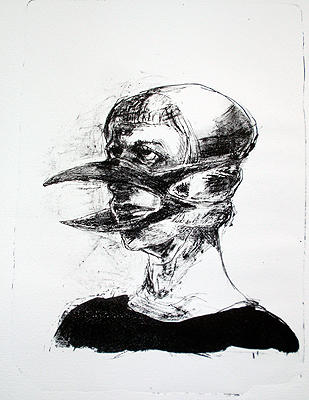 Bird mask, 2011, stone litho, 36 x 40 cm, edition 7