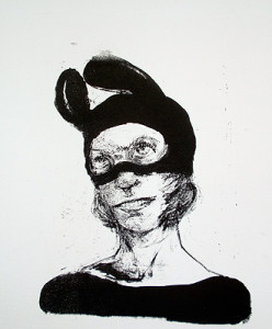 Bunny mask, 2011, stone litho, 36 x 40 cm, edition 7