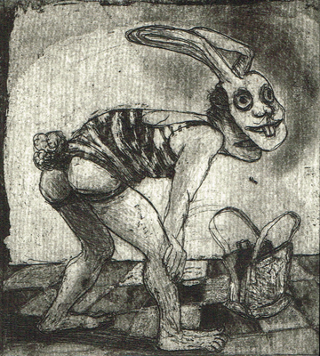 Love is a dog from hell 5, 2014, etching / aquatint, 10 x 9 cm, edition 15