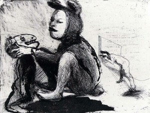 Mother and son, 2003, etching, 19.5 x 24.5 cm, edition 25