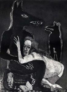 Ne me quitte pas, 2004, etching, 18.5 x 25 cm, edition 30